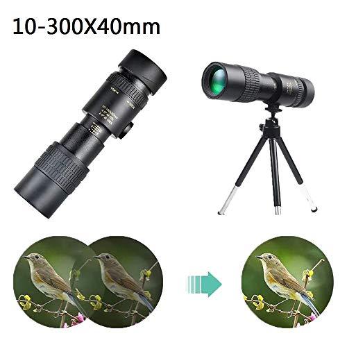 4K 10-300X40mm Super Telephoto Zoom Monocular Telescope,with Smartphone Adaptor Tripod for Wildlife Bird Watching Hunting Hiking Camping Sightseeing