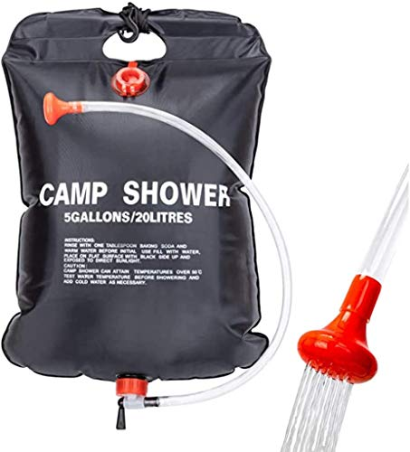 YIQI Solardusche Duschsack, 20 Liter Camp Dusche Wassersack, Solar Heizung Dusche Tasche, Outdoor Warmwasser Duschsack, Tragbare Camping Dusche Tasche