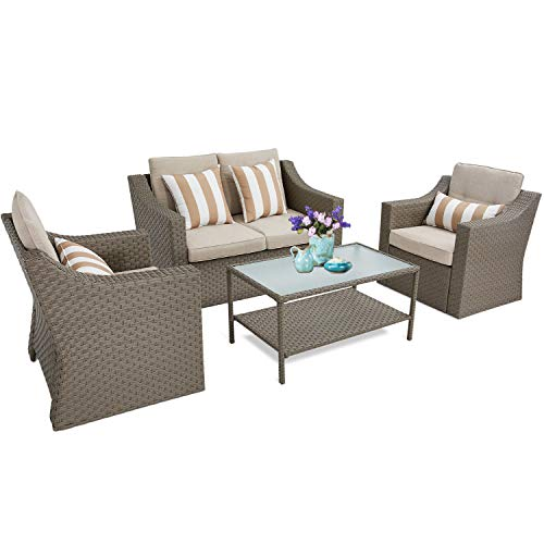 SUNCROWN Outdoor Patio Furniture All-Weather Wicker 4-Piece Conversation Set with Glass Top Table, Thick Cushions with Washable Covers, Grey