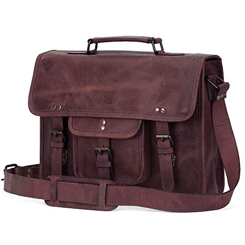 Rustic Town 15 inch Leather Laptop Messenger Bag Computer Satchel Briefcase Bag