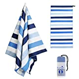 Exclusivo Mezcla Large Microfiber Beach Towel, Sand Free Sports/Swimming/Pool Towel for Kids and Adults (Striped Blue, 30' x 60') - Quick Dry and Lightweight