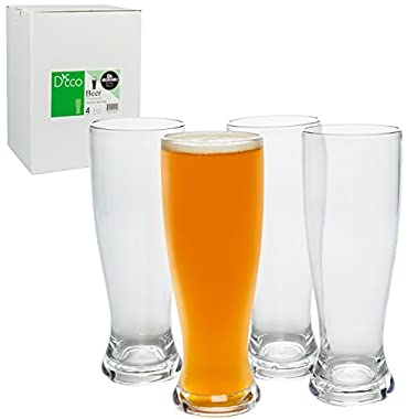 Unbreakable Beer Glasses 24oz - 100% Tritan - Set of 4 - Shatterproof, Reusable, Dishwasher Safe