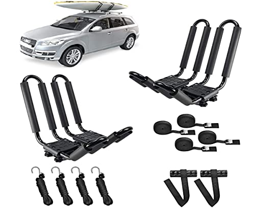 DrSportsUSA 2 Pairs Universal J-Bar Kayak Rack Roof Top Carrier for Kayak Canoe Paddle Boat Mounted on Car SUV