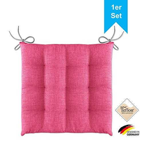 LILENO HOME 1er Set Stuhlkissen Pink (40x40x4,5 cm) - Sitzkissen für Gartenstuhl, Küche oder Esszimmerstuhl - Bequeme UV-beständige Indoor u. Outdoor Stuhlauflage als Stuhl Kissen