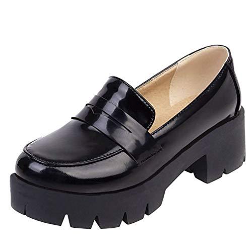 Caradise Womens Chunky Heeled Platform Loafers Slip On School Uniform Dress Shoes Size 10.5 B(M) US,Black