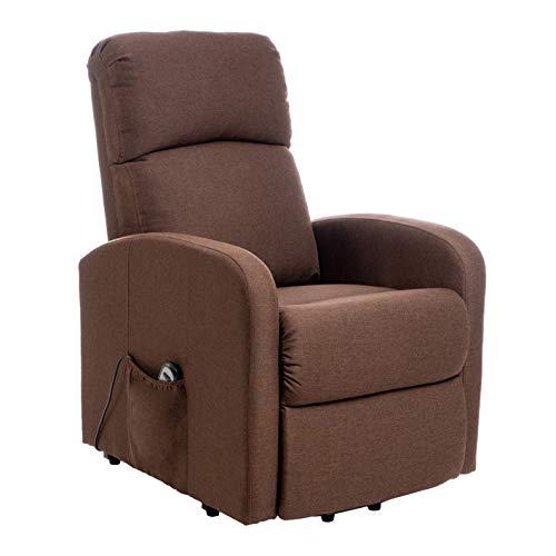 Enrico Coveri - Sillón eléctrico asistido, reclinable a cama con asiento ergonómico de tela, perfecto para decoración de salón, salón y oficina (marrón)
