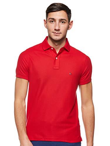 Tommy Hilfiger Herren Hilfiger Slim Polo Poloshirt, Primary Red, L