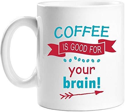 Queen54ferna koffie is goed voor je hersenen 11 oz wit wit novelty koffie mokken keramische thee cup 11 Oz mok, verjaardag mok, geschenken voor moeder, voor pa, voor meisjes