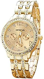 Crystal Decorated Golden Analogue Watch