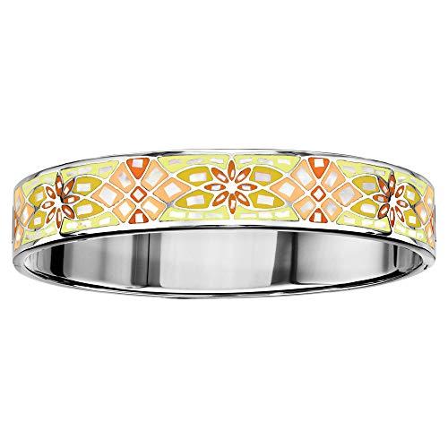1001 Bijoux Bracelet Acier articule Stella Mia dégradé Jaune Orange et Nacre Blanche diamètre 62x56 + écrin (Offert)