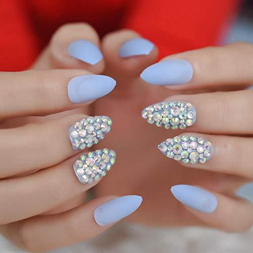 CLOAAE 3D Light Blue Rhinestone Fake Nail Tips Customized Matte Acrylic Design Nail Tips Fine High School False Nails