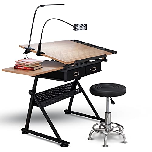 INOVATIVE Drafting Table | Ultimate Drawing Kit with Desk, Ergonomic Stool, LED Lamp and Phone Holder | Drafting Desk for Artists or Architects | Adjustable Angle and Height for Adults or Kids