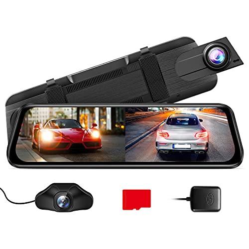 """AZDOME 10\"""" Spiegel Dashcam mit Rückfahrkamera[2.5K 1440P, 170°Vorne+1080P, 150°Hinten], GPS, Super Nachtsicht, WDR, Loop-Aufnahme, G-Sensor, Einparkhilfe, Parküberwachung, 32G Micro SD-Karte (PG02S)"""