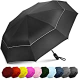 EEZ-Y Compact Travel Umbrella w Windproof Double Canopy Construction - Auto Open Close Button for One Handed Operation - Sturdy Portable and Lightweight for Easy Carry Black