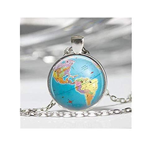 Vintage Globe Kaart Sieraden Noord-Amerika Planeet Aarde Reizen Kunst Hanger in Brons