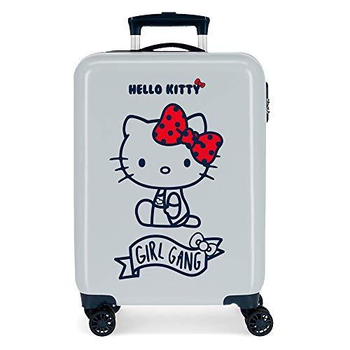 Hello Kitty Girl Gang Maleta de Cabina Azul 38x55x20 cms Rígida ABS Cierre de combinación Lateral 34L 2,66 kgs 4 Ruedas Dobles Equipaje de Mano