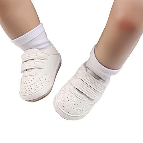 Dazzerake Zapatos de Bebé Unisex Zapatos con Suela Suave Color sólido Zapatos de Bebé para Primeros Pasos Primera Infancia para Primavera Otoño Moda (Blanco, 12-18 Meses)