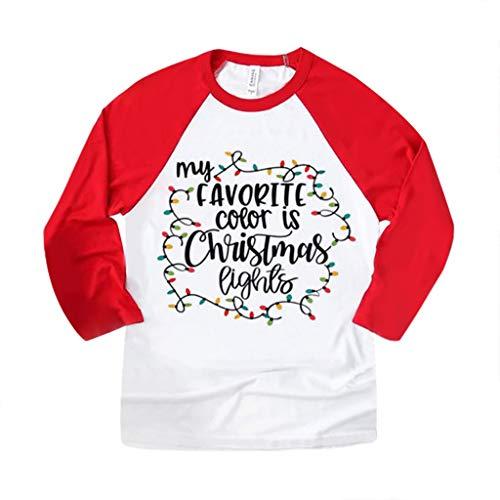LuckyGirls T-Shirt de Mode pour Femmes avec col Rond et Manches Longues à col Rond et à imprimé élan