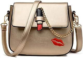 Adebie - Jasmin Noir New Casual Travel Women PU Lip Crossbody Bag Female Gold Chain Tote Bag Fashion Lady Lipstick Small Messenger Bag Gold []