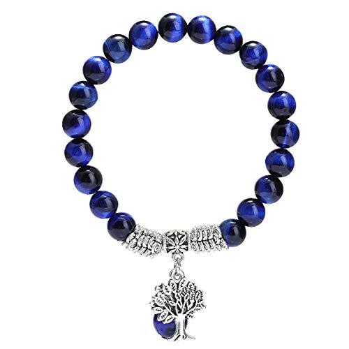 TUMBEELLUWA Beaded Bracelets Semi Precious Stone Yoga Beads Healing Crystals Tree of life Charm Chakra Bracelet Handmade Jewelry for Women,Blue Tiger's Eye
