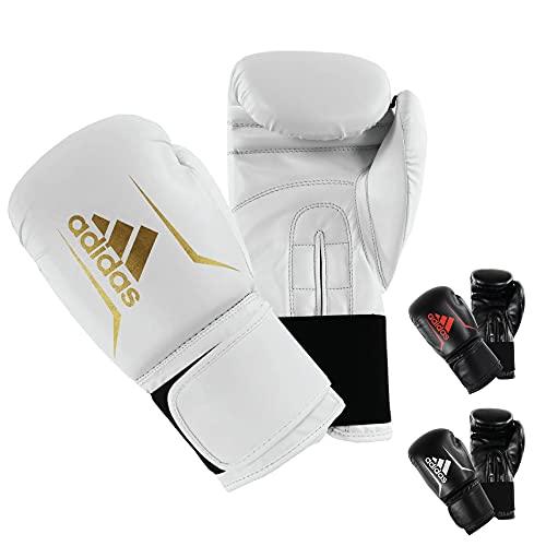 adidas Speed 50 Gym Fitness Training Workout Sparring Kick Boxing Gloves Mens Women Kids 6oz 8oz 10oz 12oz 14oz 16oz Guantes de Boxeo, Unisex Adulto, Blanco y Dorado, 340 g