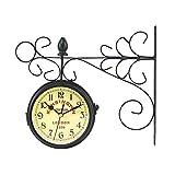 Relojes de jardín para Exteriores, Impermeables, Vintage, de Doble Cara, con Estante de Metal de rotación, Relojes para Exteriores para el jardín, Movimiento de Barrido montado en la Pared, Reloj