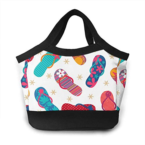 Cool Flip Flops Slippers Lunch Bag Personality Cute Otter Insulated Lunch Bags Canvas Fabric with Aluminum Foil Lunch Bag for Picnic, Hiking, Beach, Fishing, Travel