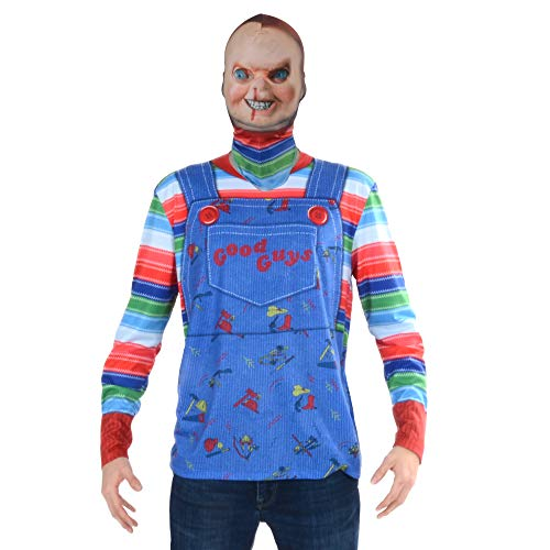 FauxReal Unisex-Erwachsene 3D Photo-Realistic Shirts with Fabric Mask Kostüme, Chucky, XX-Large