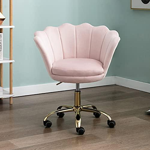 Wahson - Silla giratoria de terciopelo para casa, oficina, altura ajustable, sin brazos con base dorada, silla de escritorio para dormitorio/tocador (rosa claro, terciopelo)