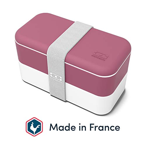 monbento - MB Original rosa Blush Bento Box Made in France - Brotdose mit 2 Fächer - Lunch Box perfekt für Büro/Meal prep/Schule
