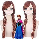 Película Princesa Anna Pelucas Olafs Aventura Anna Peluca Cosplay Mezcla Marrón Trenza Larga Pelo Sintético Para Fiesta Disfraz Peluca Anime