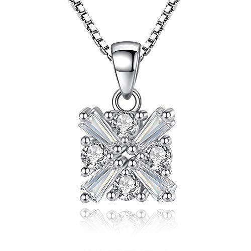 mingtian Plata esterlina Moda Cristal Brillante Amor Cubo señoras Collares Pendientes Mujeres Caja Corta joyería de Cadena