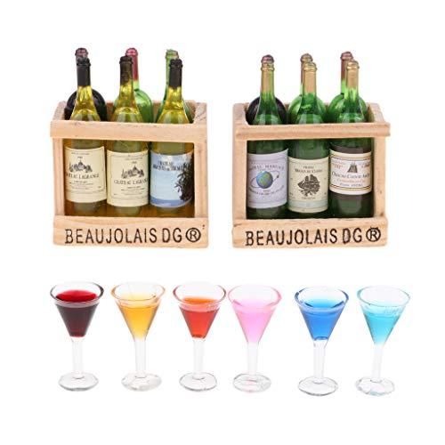 Milageto 1:12 Botellas de Vino Estante de Madera Imán Copas de Cóctel de Cocina DIY Accs Toy
