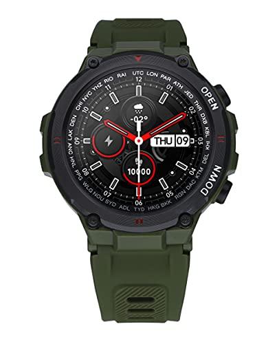 Reloj Smart de Radiant. Colección Watkins Green. Reloj con Correa de Silicona Verde Khaki y Caja Negra. 45mm de diámetro. IP67. Referencia RAS20602.