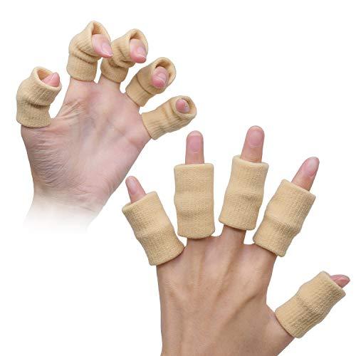 AMAZING1 10 x Fingerschutz Manschette Muskelwärmung Dehnbare Unterstützung Sporthilfe Beige