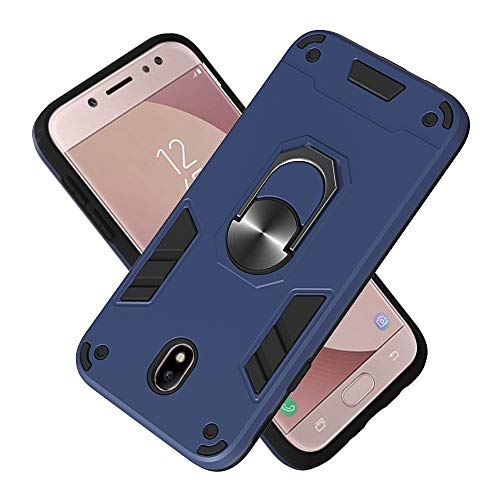 Armure Coque Samsung Galaxy J730 / J7 Pro, Boîtier PC + TPU Double Layer Housse résistant aux Chocs avec Support à Anneau Rotatif à 360 degrés (Bleu Royal)