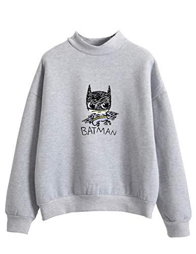 Sweat Shirt Femme, Sweat Ado Fille Mignon Imprimé Batman Automne Sport Pull à La Mode Sweat-Shirt Chic Manteau Veste Gilet Pas Cher Sweat Shirt Tee Shirt T-Shirt Streetwear (Gris, XXL)