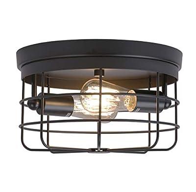 Industrial 2-Light Vintage Metal Cage Flush Mount Ceiling Light, Black Painting Finish, Rustic Ceiling Lighting Fixture for Bedroom, Dining Room, Living Room, Farmhouse Lighting