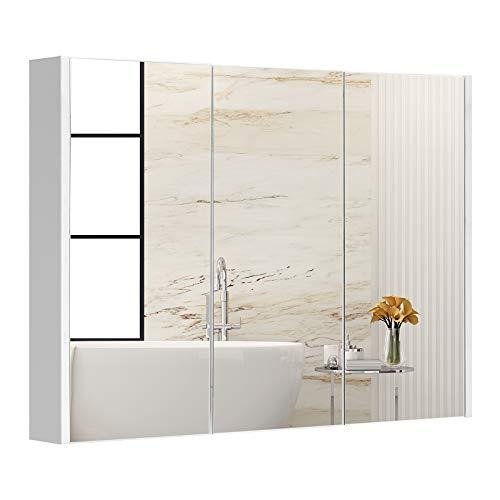 DREAMADE Spiegelschrank an der Wand Einstellbar, Badezimmerschrank mit Spiegel, Badeschrank Wandschrank Hängeschrank für Badzimmer, Weiß