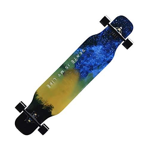 Longboard Drop Through Cruiser für Kinder - Skateboard, Skate Board Komplettboard mit High Speed ABEC Kugellagern, Drop-Through Freeride Skaten Cruiser Boards (Color : F)