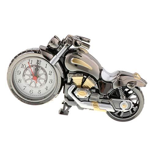 ホーム ルーム テーブル装飾 バイクの形 時計おもちゃ レトロオートバイ模型 4カラー - シルバーB