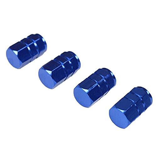 ANLV Decoración externa, 4 tapas de neumáticos a prueba de polvo, anticorrosión, de aluminio, hexagonales, para el coche, tapas de vástago de válvula negra, aluminio negro, titanio Resina sintética.,