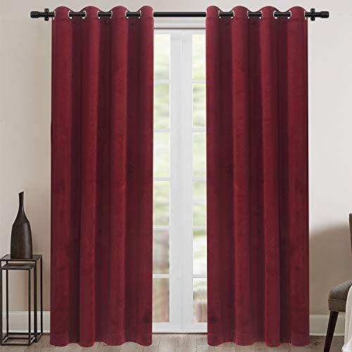 Rose Home Fashion Velvet Blackout Curtain Set with Eyelet, 2 Panels Thermal...