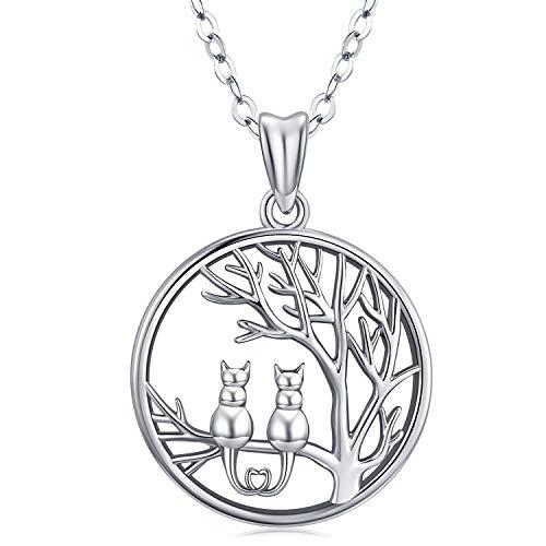 Collar de plata esterlina para gatos: colgante lindo de gato en el árbol, colgante redondo, colgante de gato de cadena de 18  Joyas para mujeres, joyas de árbol y gato Regalo con caja de joyería fina