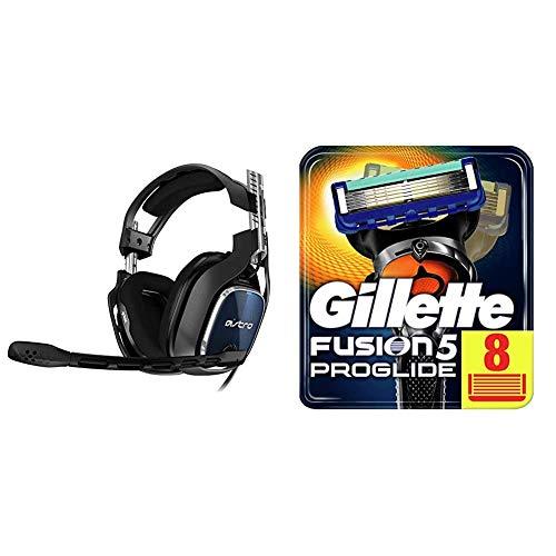 ASTRO Gaming A40 TR Gaming-Headset mit Kabel, Gen 4, Astro Audio V2, Dolby Atmos, 3,5 mm Anschluss - Schwarz/Rot & Gillette Fusion 5 ProGlide Rasierklingen mit Trimmer, 8 Ersatzklingen