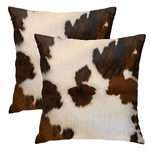 Granbey Set of 2 Decorative Pillows Covers Cow Skin Abstract Africa Animal Farm Fashion Home Sofa Cushion Cover Throw Pillowcase Gift for Couch Indoor Bed 18 x 18 Inch