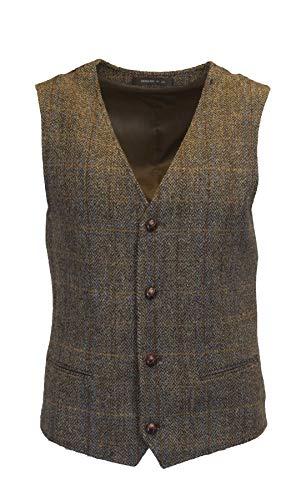 Walker and Hawkes - Chaleco clásico escocés Harris Tweed para Hombre - Punto de Espiga - Disponible en Las Tallas S-3XL - Marrón Clinton - EU 50 (UK 40)
