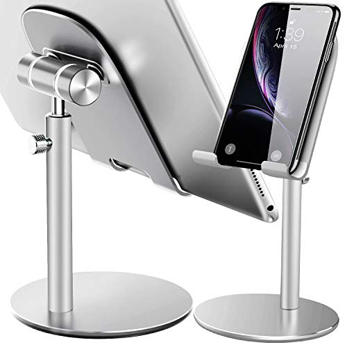Swhatty Cell Phone Stand, Aluminum iPad Tablet Stand Holder for Desk, Angle Height Adjustable iPhone Stand, Compatible with iPhone iPad Pro, Air, Mini 4 3 2, Kindle, (4-12.9'')-Sliver