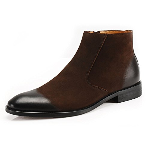 Mens Nubuck Leather Casual Zipper Business Brogue Boots Pointy Toe Chelsea Shoes (10, Brown)
