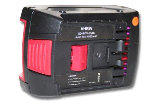 vhbw Li-Ion Akku 4000mAh (18V) für Werkzeug Bosch GDS 18V-LI HAT, GGS 18 V-LI, GSA 18 V-LI, GSB 18 VE-2-LI, GSB 18 V-LI wie Bosch 2 607 336 091.
